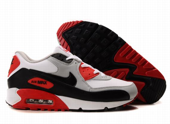 reebok leather - Nike Air Max 90 Homme Gris Rouge Noir Blanc �� Vendre Chaussures ...
